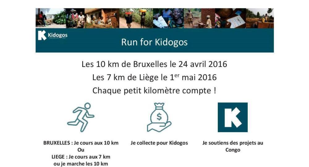 Run for Kidogos - 10 km Bxl et 7km de Liège entête