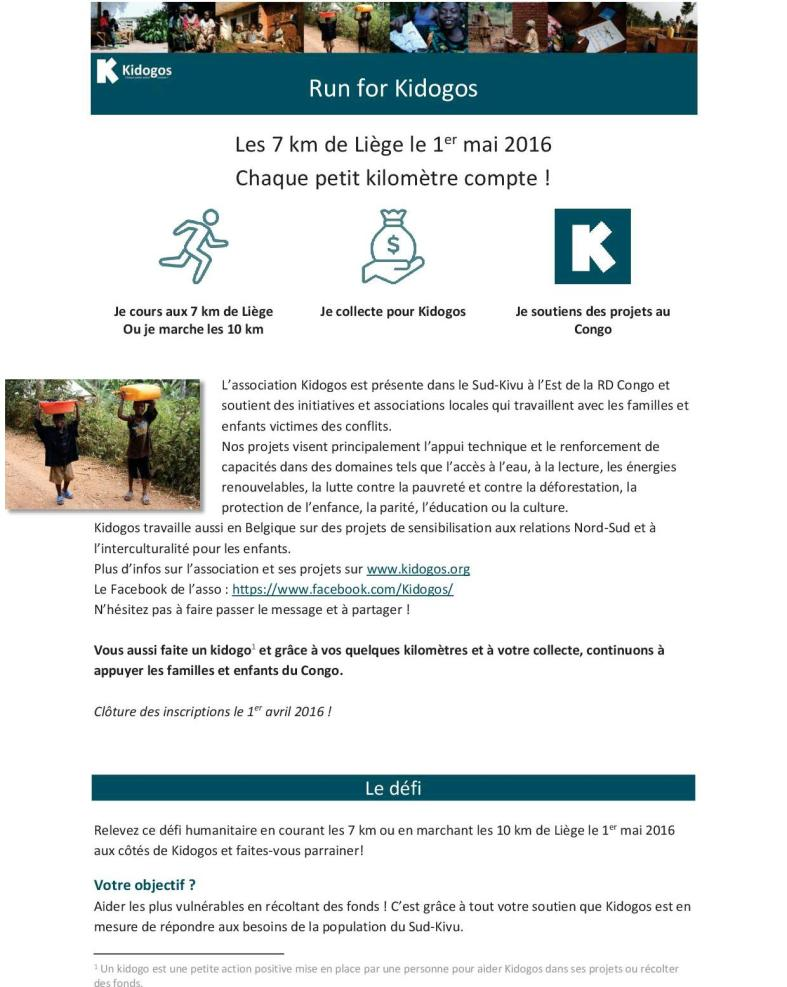 Run for Kidogos - 7 km Liège